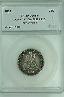 1881 Seated Quarter! Vf Details! 25C!  Us Coin Lot #3553