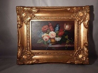 Oil on Board Floral Beautiful Gilt Victorian Type Carved Frame