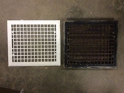 Vintage Iron Floor Heat Vent Grate Register Louvered with matching ceiling Grate