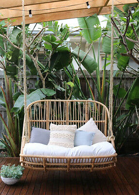 Deluxe Handmade Double Hanging Natural Rattan Egg Chair Swing
