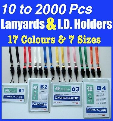 10 to 1000 Lanyards + ID Card Holder Neck Strap for Badge Mobile Phone USB Flash