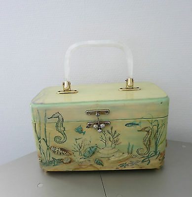 VINTAGE HANDTASCHE_Decoupage HEIRLOOMS by Anne Singler_3 D_1950`s BOX BAG_LUCITE