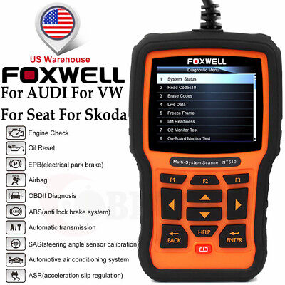 FOR VAG SCANNER SRS ABS Gearbox Oil DPF Reset Foxwell NT510 Car Diagnostic  Tool