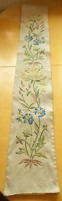 Swedish hand-embroidered linen bellpull, light gray with lovely mixed flowers