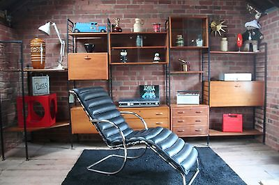 Vintage 1960s Style Mid Century Style Leather And Chrome Lounger Chair / Seat