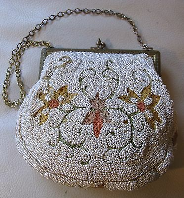 Antique White French Micro Bead Tambour Forbidden Stitch Embroidery Purse France