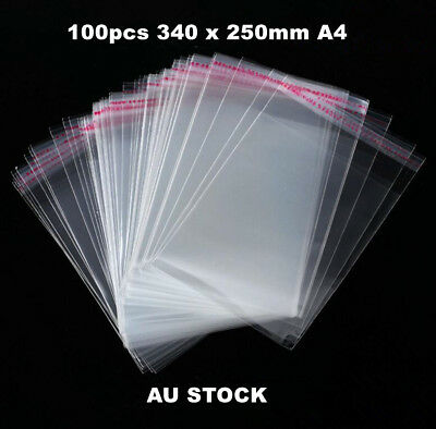 100x Clear Self Adhesive Bags Plastic Self Seal Bags Resealable Bgs A4 34x25cm