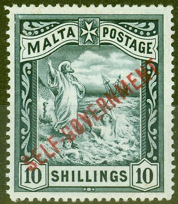 Malta 1922 10s Blue-Black SG105 Fine & Fresh Lightly Mtd Mint