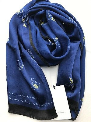 Paul Smith Men Scarf Made In Italy Bees Navy RRP£ 110
