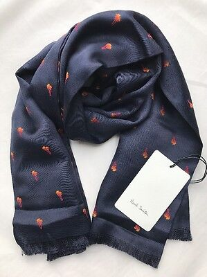 Paul Smith Men Scarf Made In Italy London Palms Navy RRP£ 125