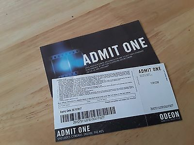 2 x ODEON CINEMA TICKETS in the UK, excluding cinemas inside the M25