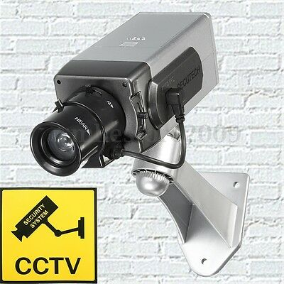 Wireless Dummy Camera Motion Detection LED Flash CCTV Surveillance Security Cam