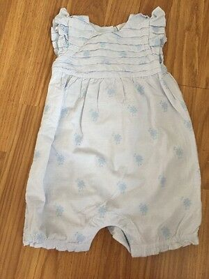Baby Girl 3-6 Months Blue & White Floral Ruffled Romper