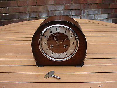 Vintage Art Deco Mantel Clock by Smiths of Enfield Fully Working Chiming + Key