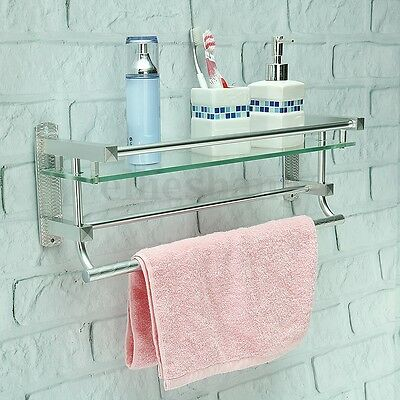 Square Glass Double Towel Holder Shelf Storage Shower Bathroom Wall Mount Rail