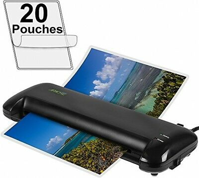 """Compact 13"""" Thermal Laminating Machine 20 Laminator Pouches 2 Roller System"""