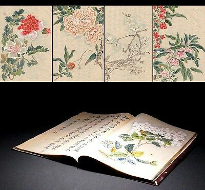 SUPERB 19th C Japanese Antique Hand-painted picture book many illustrations D360