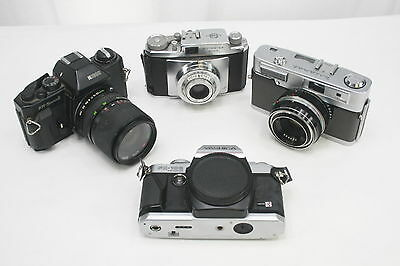 Vintage lot of 4 GREAT 35mm SLR Film Cameras! Minolta Uniomat Ricoh Yashica