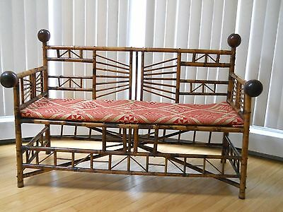 English Victorian Bamboo Settee Bench Chinoiserie Stick and Ball