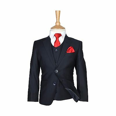 Boys Dark Navy Formal Suits Kids Wedding Navy Boy Outfit Prom Party 5PC Suit