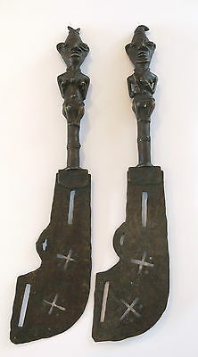Rare Pair of 20th Century AFRICAN Yoruba BRONZE Figural TRIBAL STAFFS Circa1930