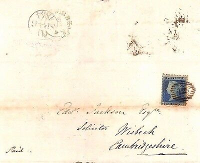1857 GB Cambridgeshire Wisbech Entire Letter. SG.19 2d Blue on Cover