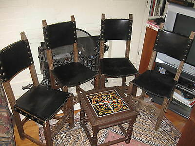 4 Vintage Monterey Mission Rancho California Spanish Revival Carved Side Chairs