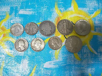 Lot of 9 silver coins 1918 liberty 1943 1964 Kennedy 1907 D barber half dollar