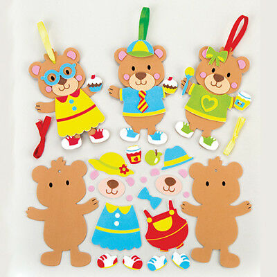 6 Teddy Bear Mix&Match Magnet Kits for Children to Make. Creative Kids Craft Set