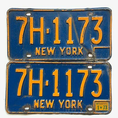New York Blue Pair Old License Plate Garage Old Blue Car Tag Man Cave 1973