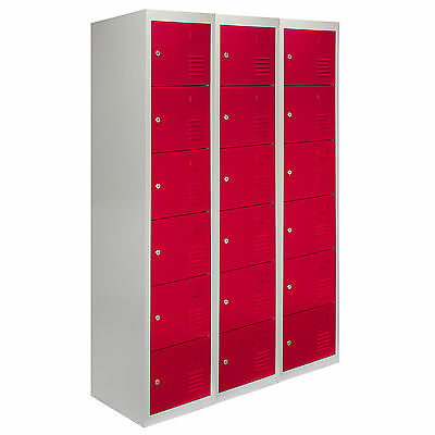 Steel Lockers 6 Doors Lockable Metal Storage Flatpack Changing Room School Red