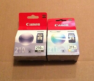 Set of 2 Genuine Canon PG-210XL Black & CL-211XL Color Ink Cartridges New