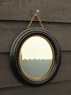 Cute Antique Small Ebonised Georgian Oval Mirror With Original Glass Plate