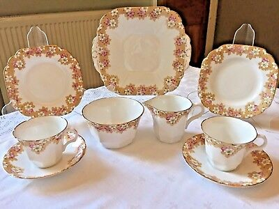ART DECO TEA SET Vintage China 'Tea for 2' Pink Floral 1930s 1940s MELBA ENGLAND