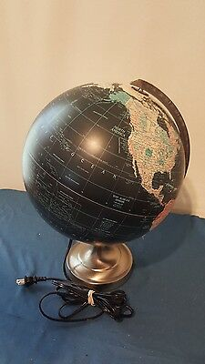 "Vintage Scan Globe A/S 12""  Lighted Globe - ""RARE BLACK"""