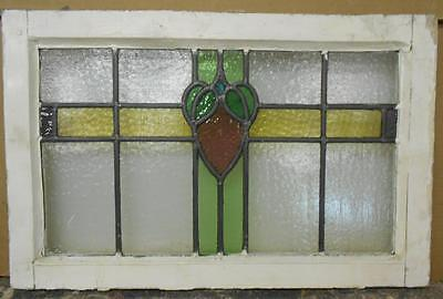 "OLD ENGLISH LEADED STAINED GLASS WINDOW Pretty Heart & Leaves 23.75"" x 15.25"""