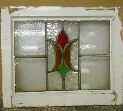 "OLD ENGLISH LEADED STAINED GLASS WINDOW Pretty abstract Design 20."" x 16.75"""