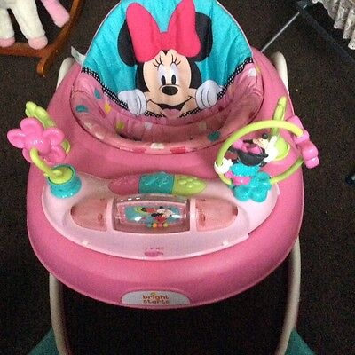 Pink Baby Walker Disney Minnie Mouse Car w/ Toy Tray & Lights and Sounds Used