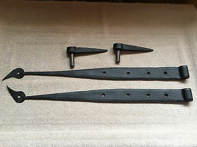 Antique  Hand wrought  iron strap hinges  with  RARE tulip design