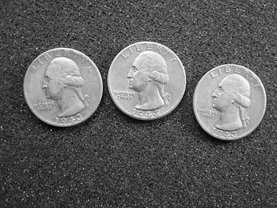 1943-P, D & S Washington Quarters,  Nice Circulated Condition, Lot Of 3 Coins