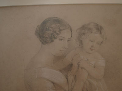 19th Century/Victorian Fine Charcoal Study of Mother, Child & Dog. ORIGINAL