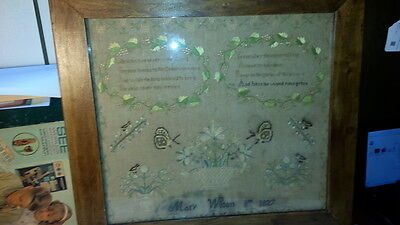 Antique Needlepoint Sampler 1827 framed with spiritual verse