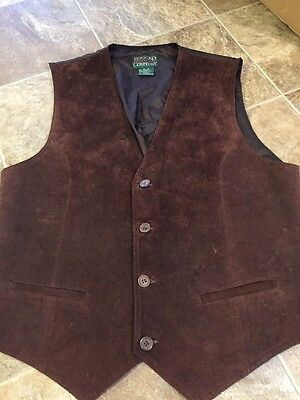 Men's Rugged Country Outfitters Size XL Brown Leather Vest