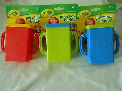 New Crayola Juice Box Buddy Holder Sippy Drink Cup Choice of 3 Colors BPA Free