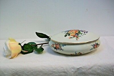 Large Pretty Limoges Porcelain Trinket Pill Box, Dressing Table, #35