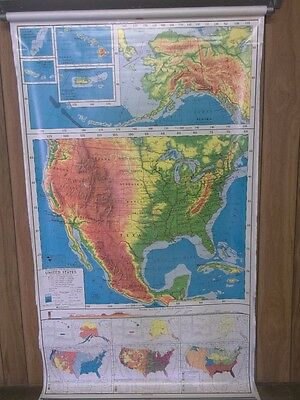 7 PAGE NYSTROM 75x44 PULL DOWN SCHOOL WORLD MAP PICTORIAL RELIEF  MAP8