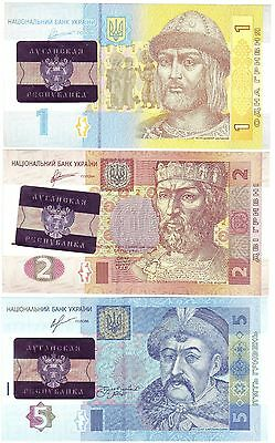 Ukraine Luhansk People's Republic Set 3 Hologramic Countermarked Banknotes, Unc