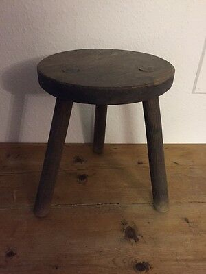 Antique wooden 3 legged milking stool