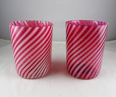 Pair (2) of Cranberry & White Opalescent Swirl Vintage Glass Tumblers
