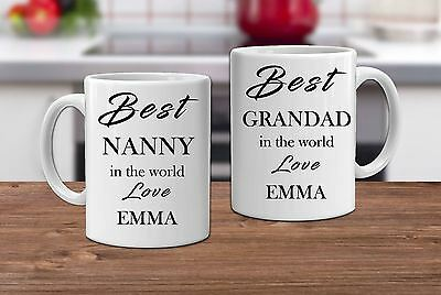 Set Of 2 Mugs Best Nanny And Grandad Personalised Coffee Cups Birthday Gift